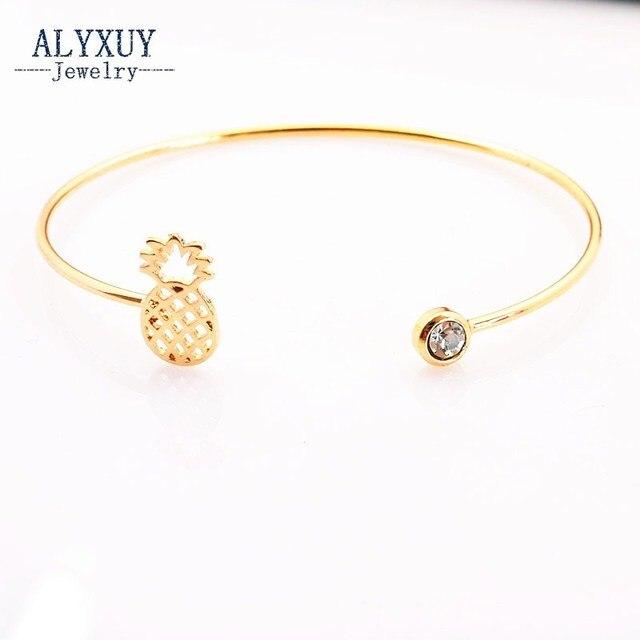 Nouvelle accessoires de mode bijoux de cuivre alliage mignon Ananas fruits manchette bracelet pour les femmes fille beau cadeau B3348