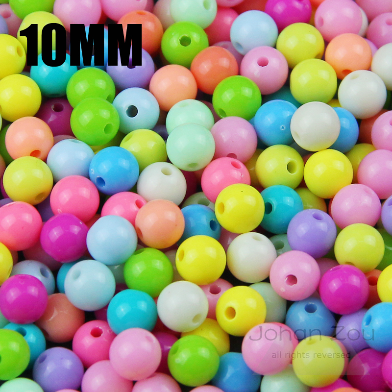 Strict Jhnby Top Quality 100pcs Mixed Candy Light Color 10mm Acrylic Milk Beads Neon Smooth 10mm Round Loose Beads Jewelry Handmade Diy Jewelry & Accessories