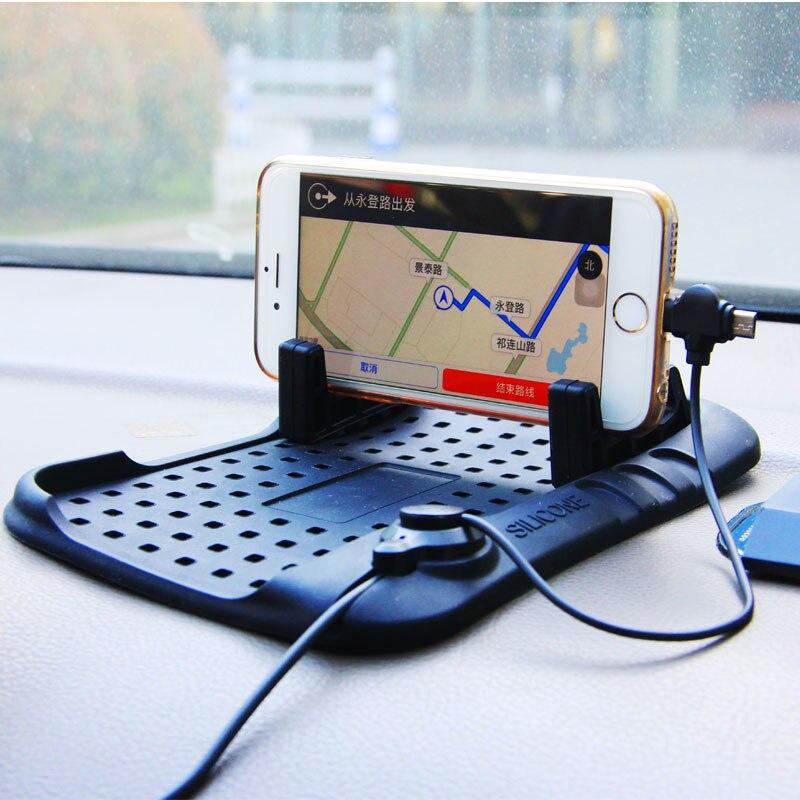 ET Auto Telefon Armaturenbrett Stehen Halter USB Lade Ladegerät Anti-skid Halter Magnetische Silikon Non-Slip Pad für iPhone 8 X Andriod
