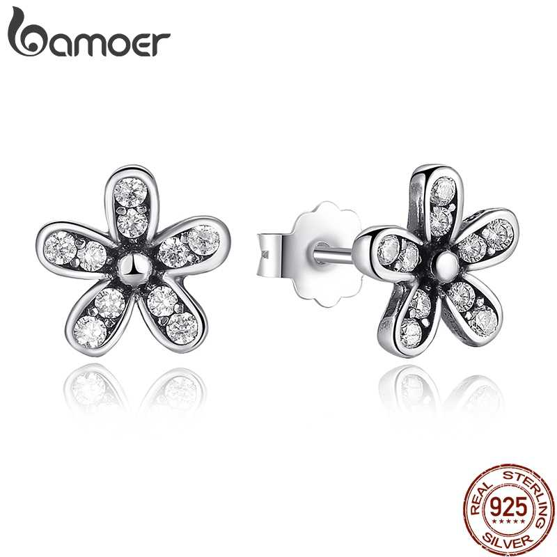 BAMOER Authentic 925 Sterling Silver Dazzling Daisy Stud Earrings With Clear CZ Jewelry ANNIVERSARY SALE 2018 PAS403