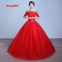 DongCMY Half sleeve 2019 new arrival long red color Ball bandage wedding dress vestido de noiva Bridal Gown