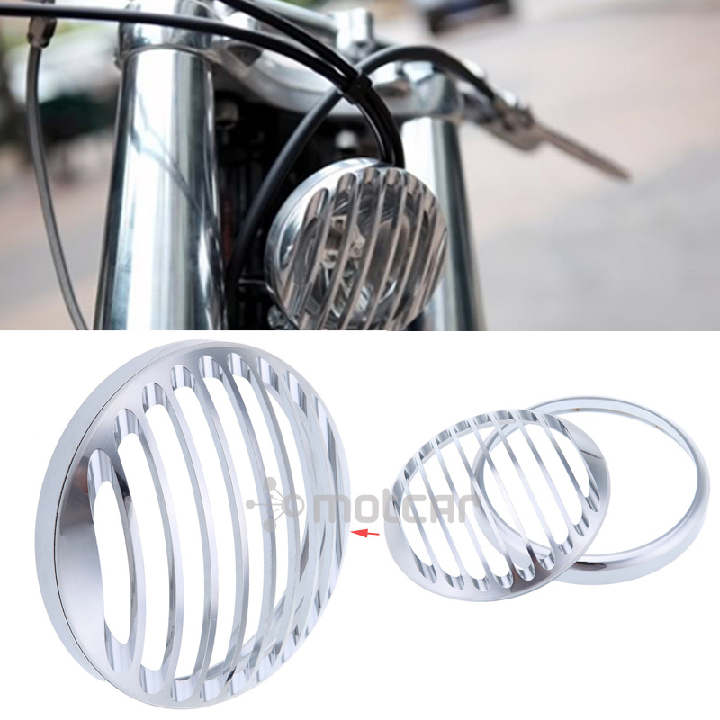 Silver CNC Aluminum Headlight Protection And Decoration Grill Cover Fit For Harley Sportster XL 883 1200 2004-2014 ALL super quality 5 3 4 aluminum cnc light cover headlight grill cover for harley sportster xl883 1200 04 up softail