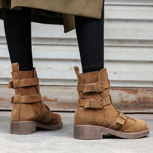 Women Brown Leather Flat Boots