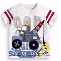 2016 nova T shirt das Crianças dos meninos t-shirt da Roupa Do Bebê menino tshirt Verão tees Designer de Algodão Dos Desenhos Animados guindaste