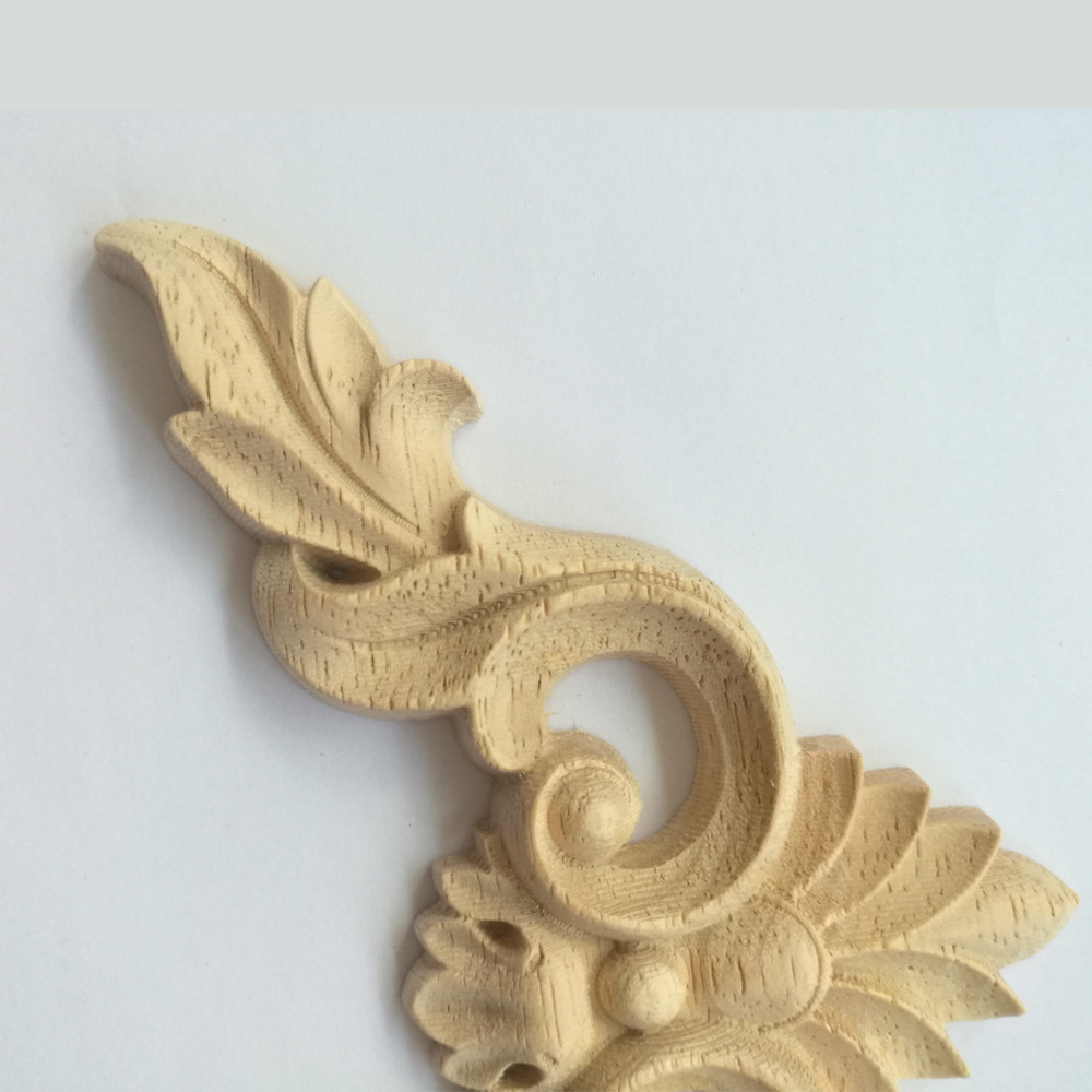 4PCS Wood Onlay Applique Wooden Oak Woodcarving Decal Wood Carved ...