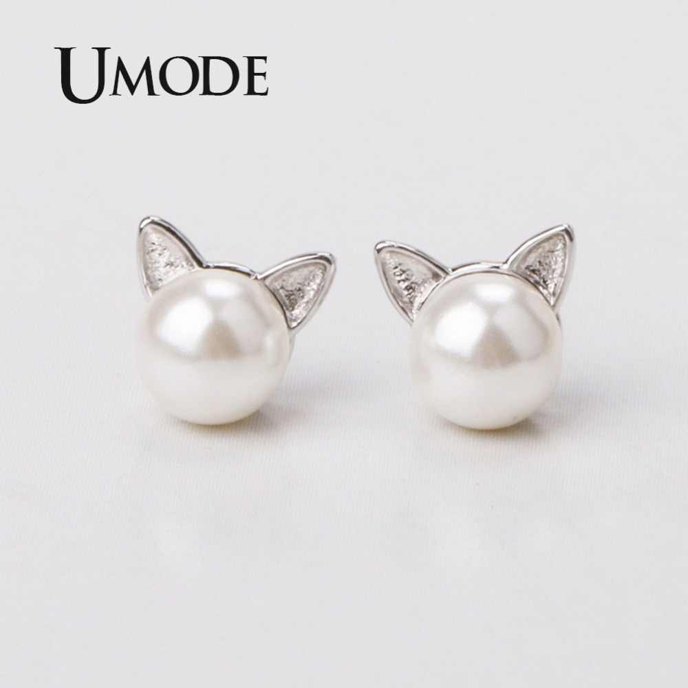 UMODE Girls Kids Cute Cat Ear Pearl Stud Earrings Adjustable Bracelets Chain Necklaces Jewelry Set Womens Jewellery femme US0053