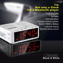 mini Bluetooth Speaker Portable Wireless clear display Luminous LED Alarm Clock with battery Amplifier FM Radio For smartPhone