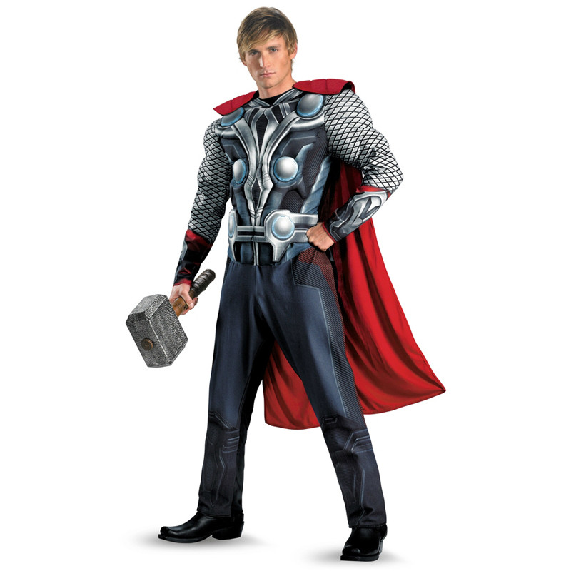 2018 The Avengers Thor Adult Muscle Costume Halloween Costume Movie Superhero Muscle Avengers Uniform 165-180cm Men Purim Gfit