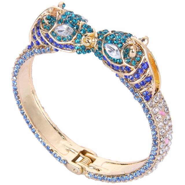 2016 BELLA Gold Plated Enamel Blue Two Horse Bangle Austrian Crystal Animal Bangle For Women Jewelry