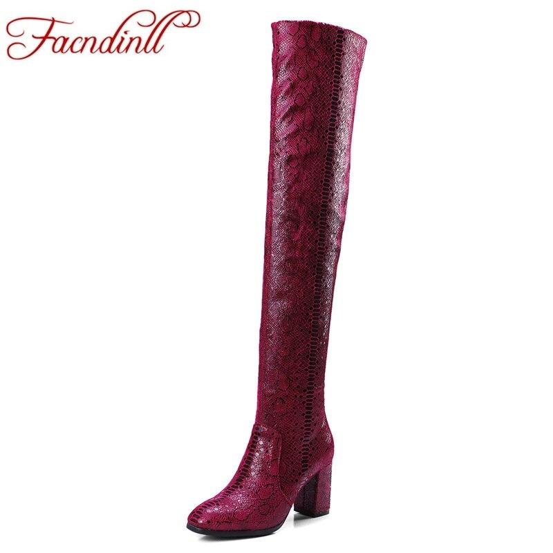 цены  FACNDINLL high qulaity autumn winter women long boots shoes high heels round toe woman over the knee high boots big size 34-42