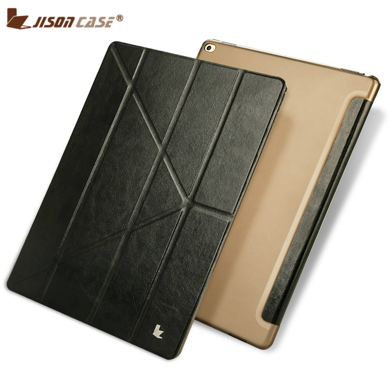 Jisoncase PU Leather Case for iPad Pro 12.9 Flip Case Transformers Luxury Tablet Smart Cover for iPad Pro 12.9 inch Auto Wake