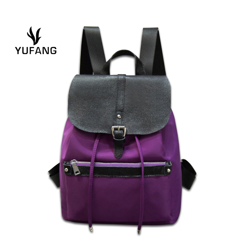 Waterproof Oxford with Leather Women Backpack Black Daily Shopping Bag Trendy Casual Backpack Wear resisting Ladies