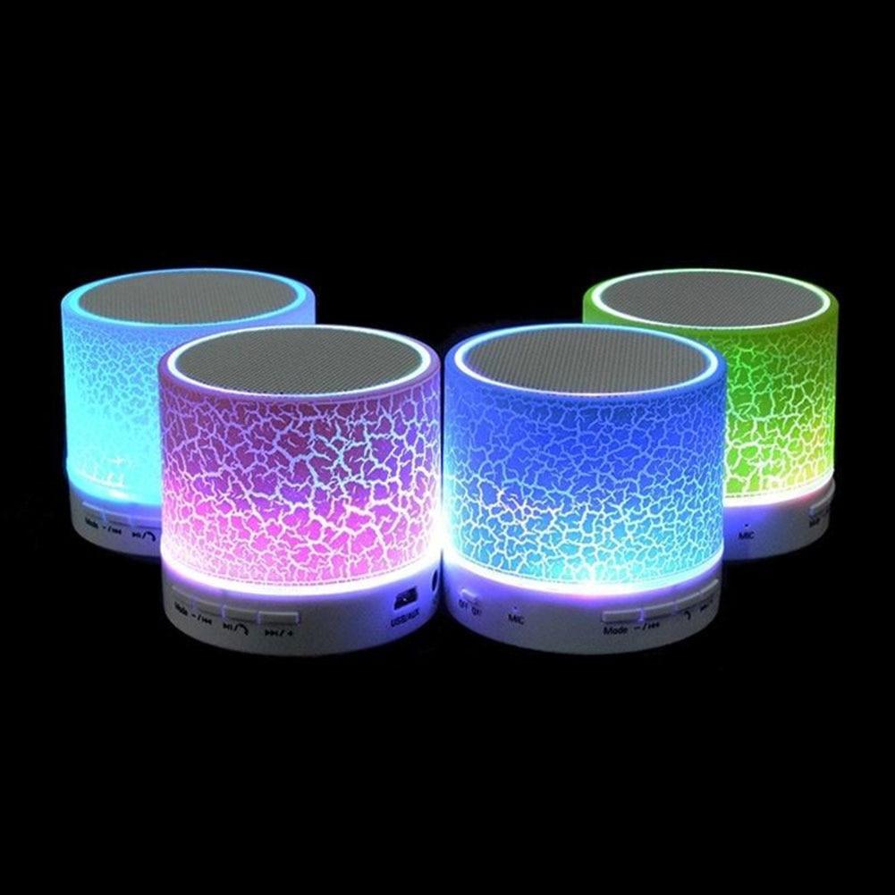 Mini Bluetooth Crack LED Light Speaker w/ Hands-Free Calls TF Slot USB FM Radio  Night Light Luminaria mini cylinder shaped bluetooth v2 0 speaker w fm tf mini usb usb blue black transparent