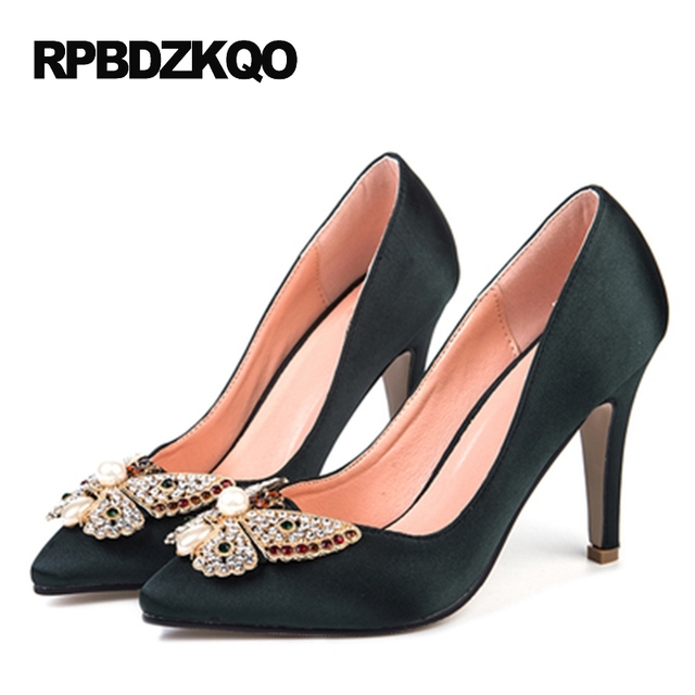 Pointed Toe Rhinestone Bride Shoes Low Satin Women 12 44