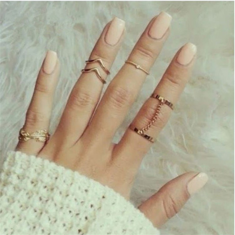 8Seasons Fashion Women Rings Gold Silver Color Round Chain Heart Leaf Style Rings Romantic Series Casual Acessories,1 Set(6 PCs)