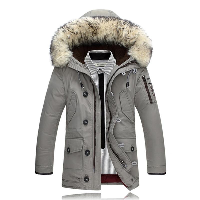 2017   Down     Coats   Men Winter Jackets Mens 90% White Duck   Down     Coat   Cashmere Fleece Parka Man Jacket   Coats   Rabbit Fur Collar Parkas