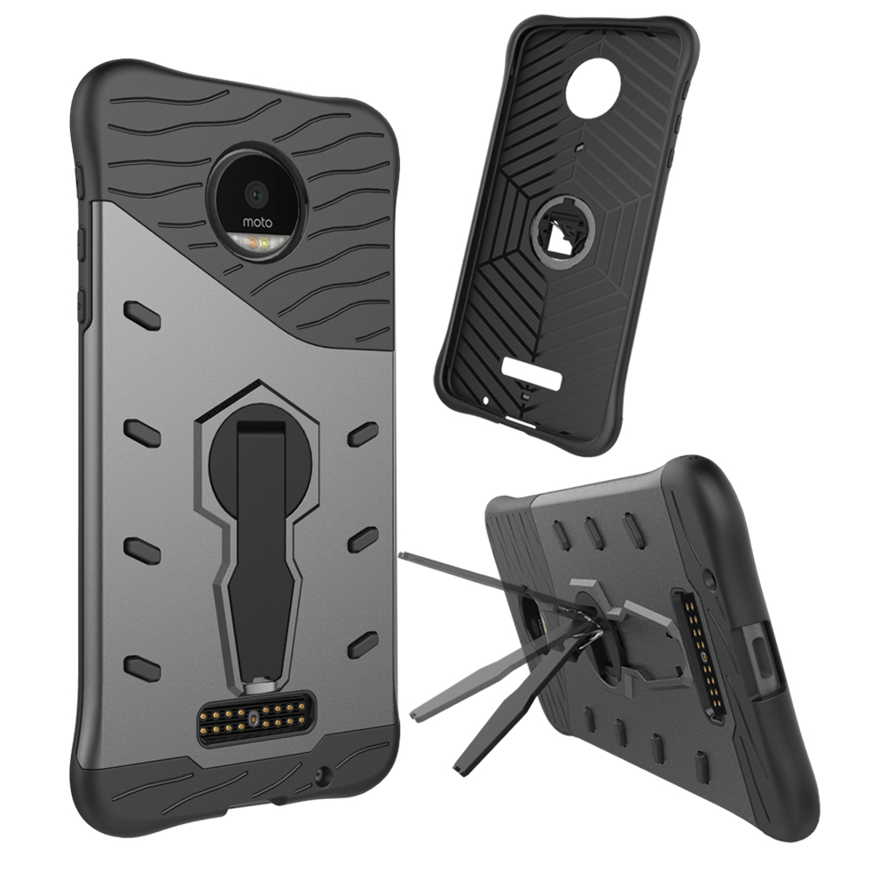 360 Turn Kickstand Heat Radiation Impact Hybrid Case For Moto Z Force Z2 Play Sniper Case for Motorola Moto Z Droid Armor Cover