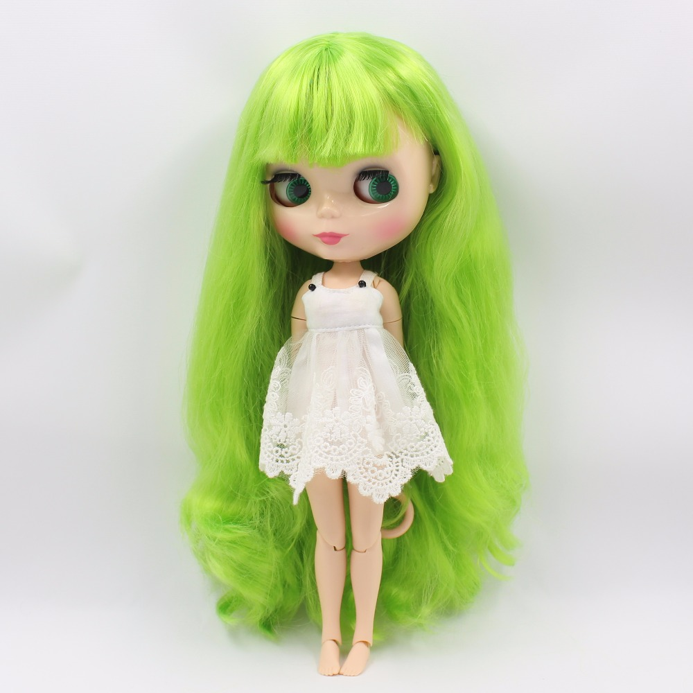 Neo Blythe Doll with Green Hair, Natural Skin, Shiny Face & Jointed Body 1