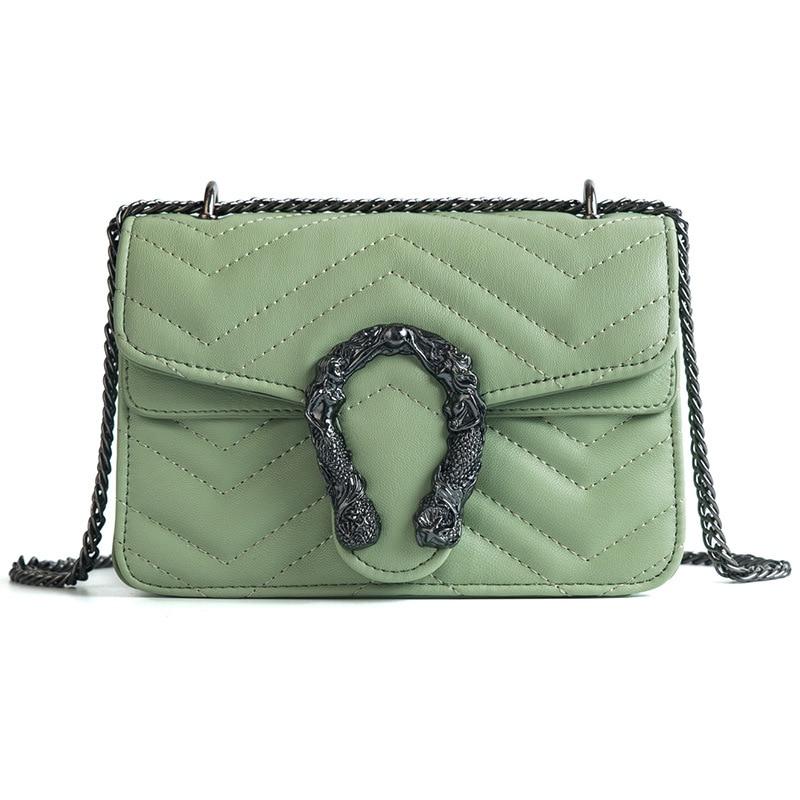 Designer Shoulder Bag Quality PU leather Messenger Bag snake head square bag ladies hand bags Fashion Rhombus chain package