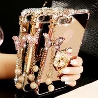 2018 Bướm Nhôm Kim Loại Bumper Case Cho Samsung Galaxy Note 8 5 4 2 Luxury Kim Cương Gương Điện Thoại Bìa S8 S9 S9Plus trường hợp