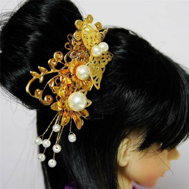 [wamami]  699# OOAK Golden Butterfly&Bead Chinese Ancient Hairpin 1/3 SD AOD BJD Dollfie