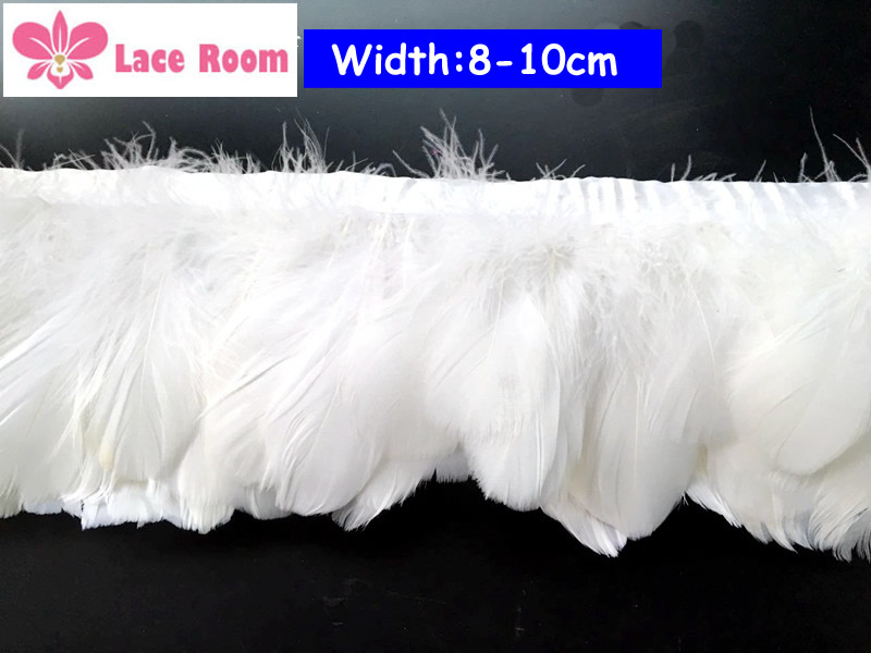 3 Yards Lot 8 10cm Wide White Feather Lace Tel Lampshade Decorative Art Lamp Clothing Accessories Skirt Cloth Edge