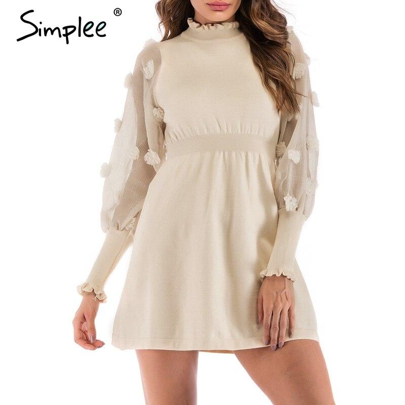 Просто, элегантно сетки плюшевые бальное женское платье для женщин Весна с длинным рукавом Большие размеры Трикотаж Платья для повседневно...