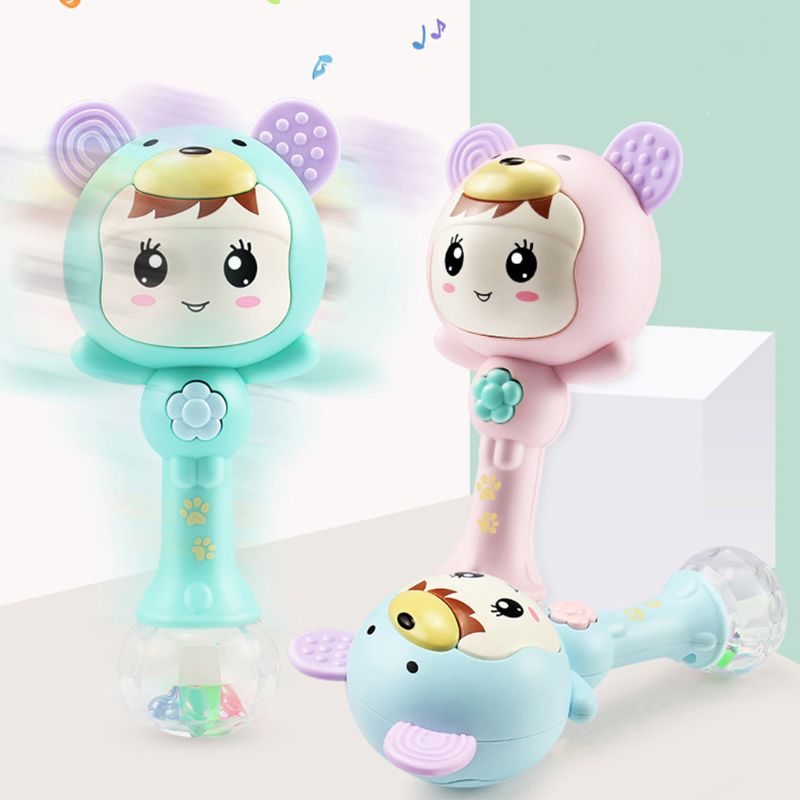 Baby Shaker Teether Sand Hammer Cartoon Baby Toys Teething Illuminant Musical Instrument Cute Rattles