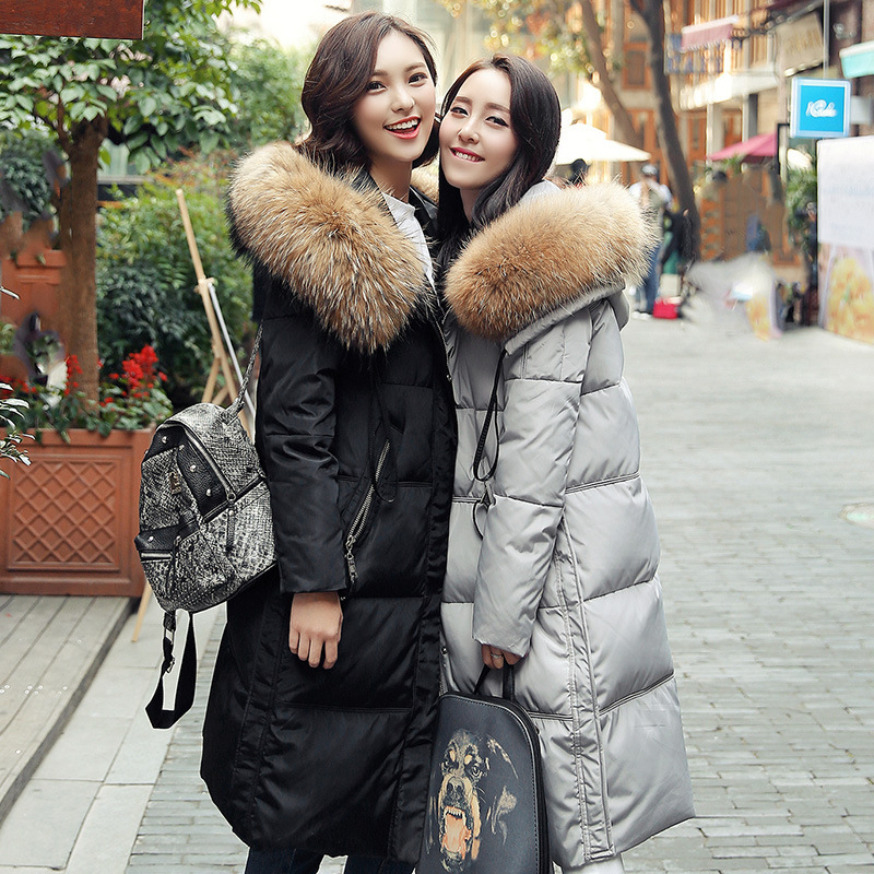 Winter Jacket Women 2015 New Korean Natural Fur Collar Womens Winter Jackets And Coats Long Thick Duck Down Jacket Black Parka