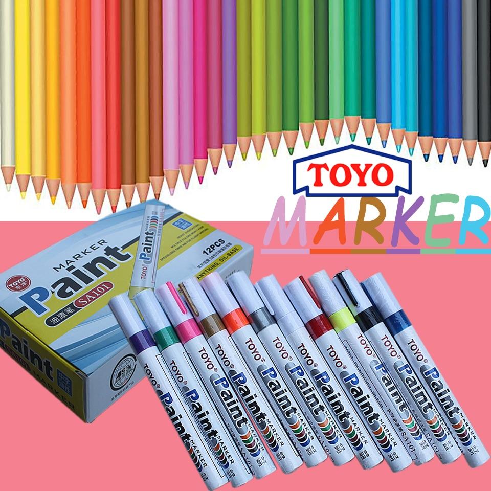 цена на Toyo Oil-Ink Metal Paint Pen DIY Writing Dry Tire Tread Paint Metal Face Ceramic Glass Waterproof Permanent Paint Marker Pen