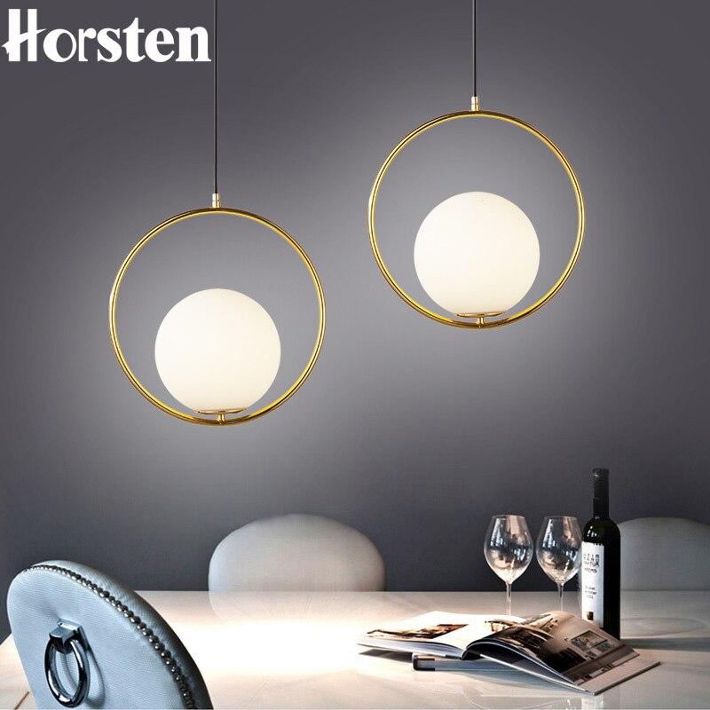 Nordique Simple Circ LED boule de verre pendentif lumières LED E27 Loft moderne suspension lampe pour salon salle à manger chambre Bar Restaurant