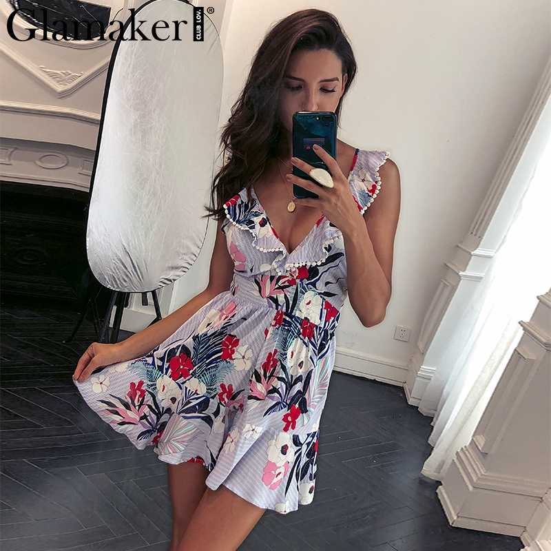 8563cb2531a Glamaker Elegant ruffle flower print jumpsuit romper overalls Sexy V neck  lace up backless jumpuit Women