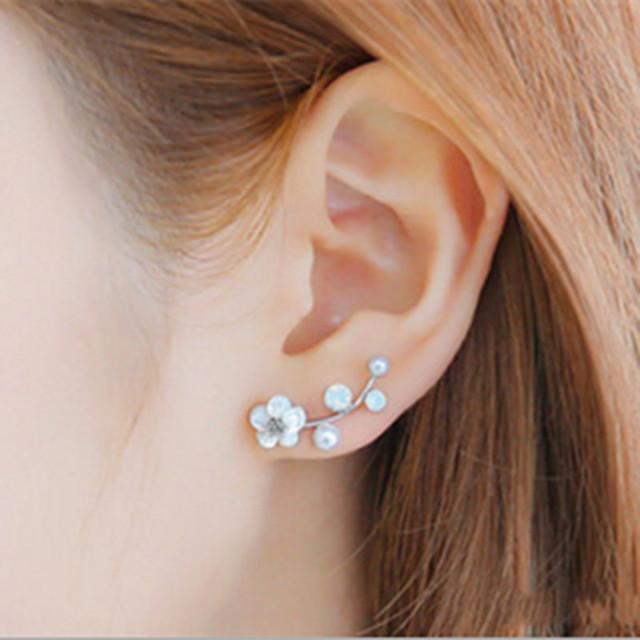 Pearl Crawler Stud Earrings For Women