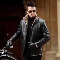7XL 6XL 5XL Warm Winter Sheepskin Men's Leather jacket Men Leisure coat Men Fur Lining Jackets2019 New locomotive jacket
