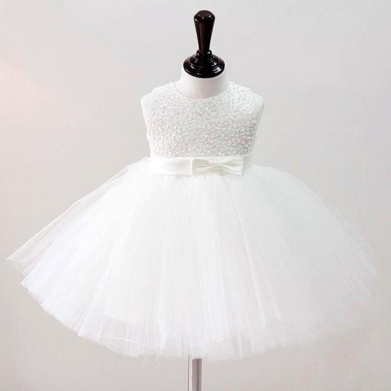 2019 Vestidos de bautizo para bebé niña Vestido de niña vintage Vestidos de bautismo para niñas Princesa Hand Beading Party Tutu Dress Girl