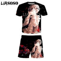 LIASOSO Summer Fashion Men Women 3D Print Anime Tokyo Ghoul Short sleeve T shirt Set Casual Unisex Sweatshirt Sportswear A067 25