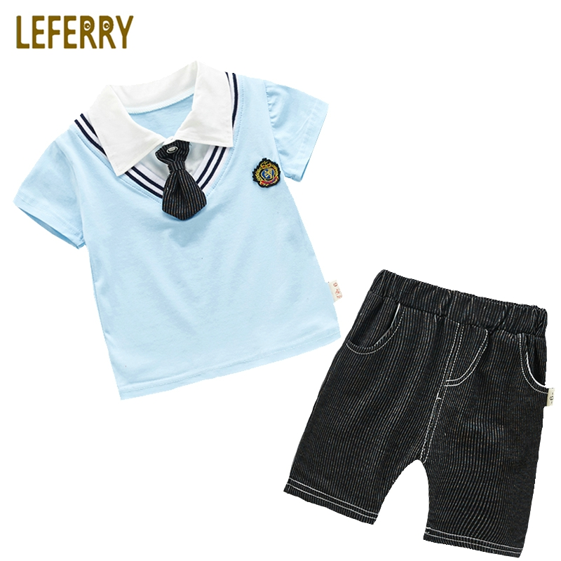 Kids Clothes Boys Summer Set Prepyy Style Tie Tops and Striped Shorts Children Clothing Baby Boys Clothing Sets Gentleman Suits baby boys suits clothes gentleman suit toddler boys clothing infant clothing wedding birthday cotton summer children s suits