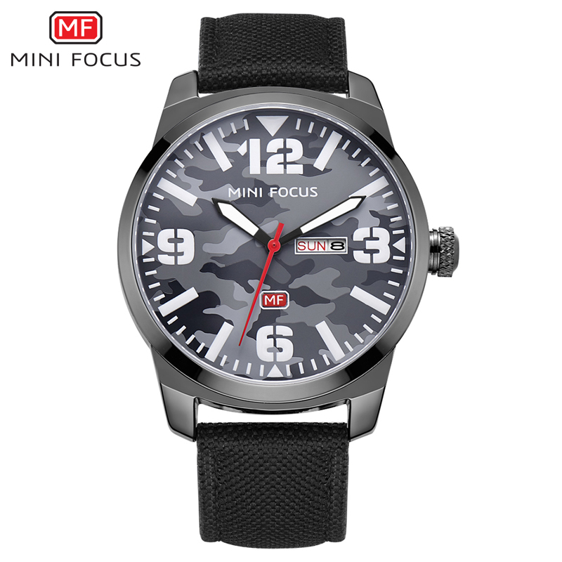 MINI FOCUS Brand Luxury Men's Watch Quartz Analog Date Day Clock Male Sports Watches Men Nylon Strap Casual Military Wrist Watch a suit of chic fake pearl rhinestoned round clover necklace and earrings for women page 9