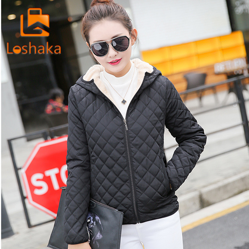 Winter 2018 New   Parkas   basic jackets Female Women Winter plus velvet lamb hooded Coats Cotton Winter Jacket Womens Outwear coat