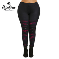 AZULINA Plus Size Women Leggings Fitness Skinny High Waist Pencil Pants Casual Ripped Rose Print Workout