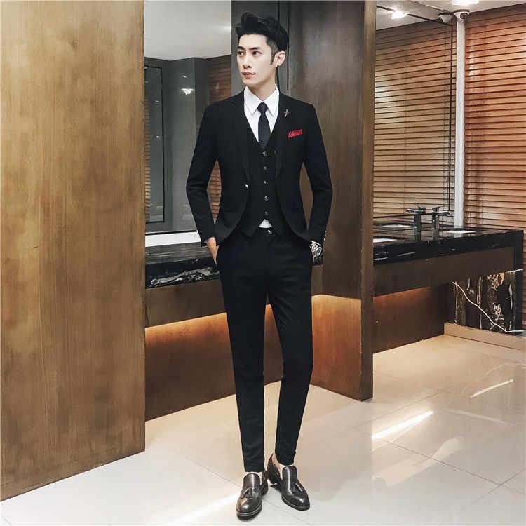 2019 nuevo traje de novio negro atractivo para hombre, trajes de boda para los mejores hombres, esmoquin de novio ajustado para hombre (chaqueta + chaleco + pantalón)