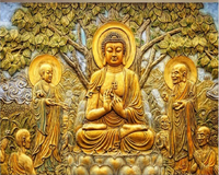 Beibehang Custom Wallpaper Golden Relief Linden Buddha TV Background Wall Living Room Bedroom Mural 3d Wallpaper