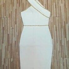 Высокое качество женское летнее сексуальное Белое Бандажное платье с бисером на одно плечо элегантное облегающее Бандажное платье+ костюм