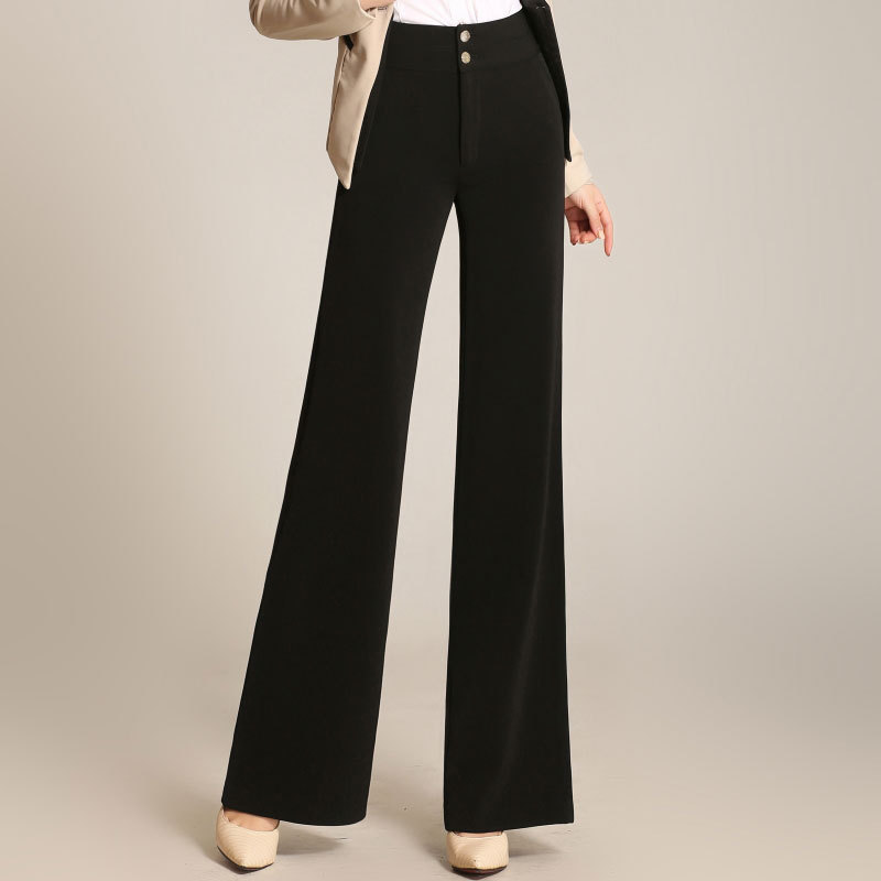 Brand Women Elegant High Waist   Wide     Leg     Pants   Female Solid Color Plus Size Long Large   Pants   Slim Straight Trousers 5XL 6XL Brand