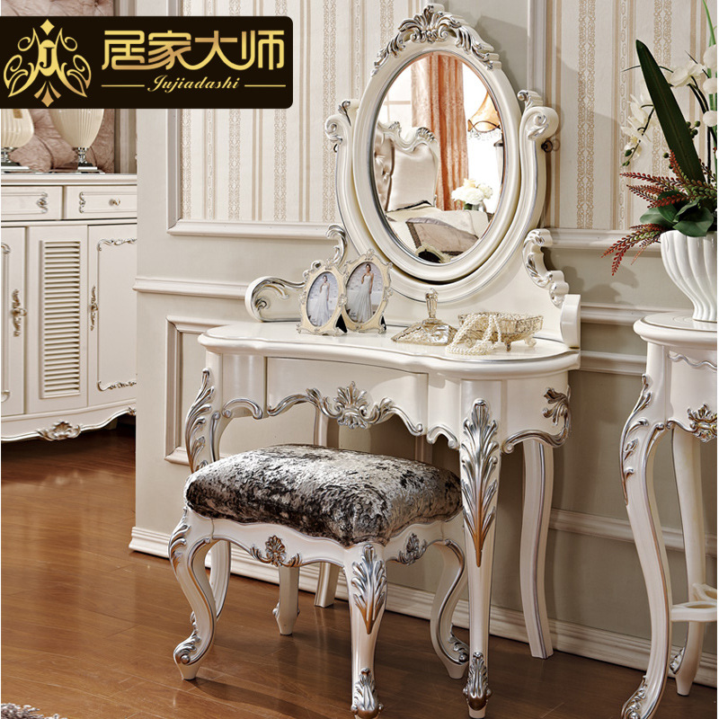 New french classical bedroom furniture white dressing for Maquilleuse meuble