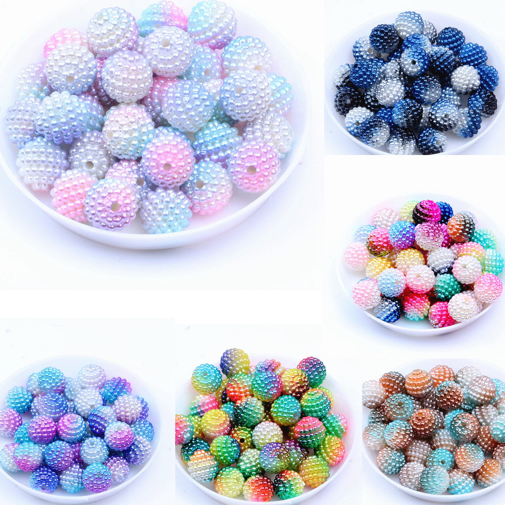 10mm 20pcs/lot Acrylic multi-colored bayberry beads imitation pearl Round Loose Bead DIY Necklace&Bracelet Jewelry Craft Making(China)