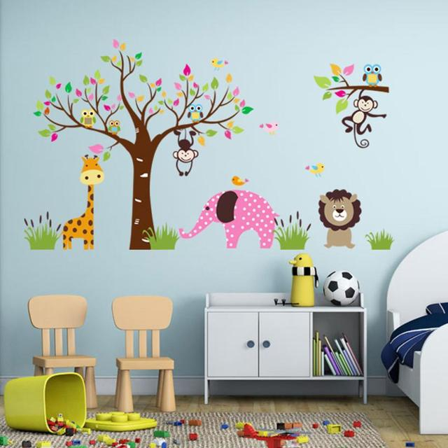 Jungle Animals Wall Stickers for Kids Rooms Safari Nursery Rooms Baby Home Decor Poster Monkey Elephant  sc 1 st  AliExpress.com & Jungle Animals Wall Stickers for Kids Rooms Safari Nursery Rooms ...