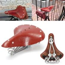 Sillín de bicicleta Retro de cuero Vintage de cuero genuino asiento de bicicleta clásico asiento estera asiento genuino cojín con resorte