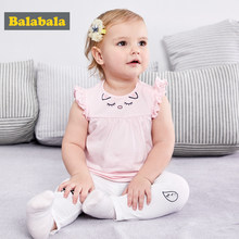 Balabala newborn girls tshirt children clothes 2018 summer baby girls boys clothes short sleeve t shirt printed pure Cotton(China)