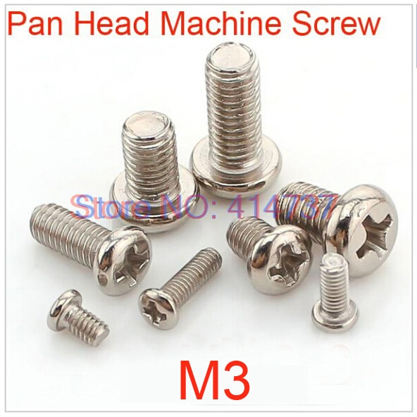 500pcs/lot <font><b>M3</b></font> Steel with Nickel Phillips pan head (Cross recessed pan head) machine Screw Length 3mm--<font><b>45mm</b></font> image